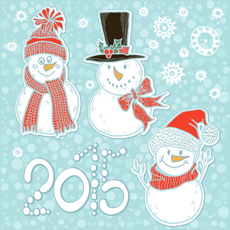 2015 new year card with cute  snowmen. Vector illustration, holiday background. Vector