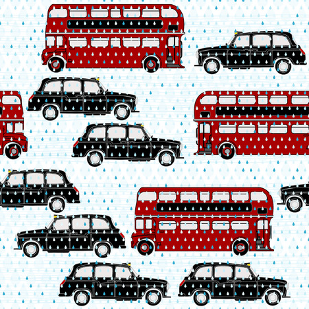 Seamless pattern with double-decker buses and London taxi under the rain. Symbols of London. Vector