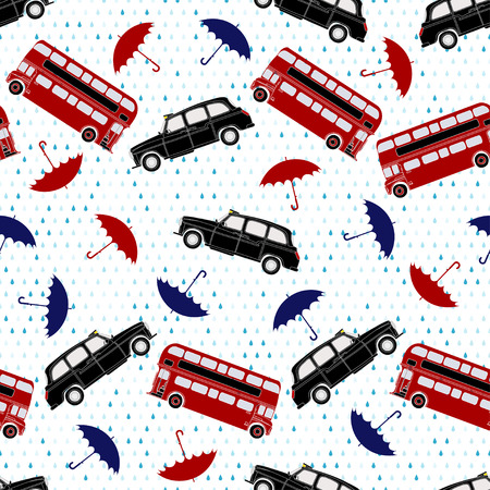 doubledecker: Seamless pattern with double-decker buses, taxi and umbrellas under the rain. Symbols of London.