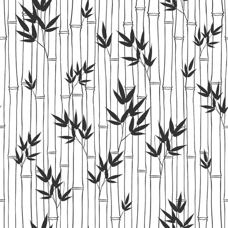 bamboo leaf: Seamless bamboo pattern. Black and white illustration.