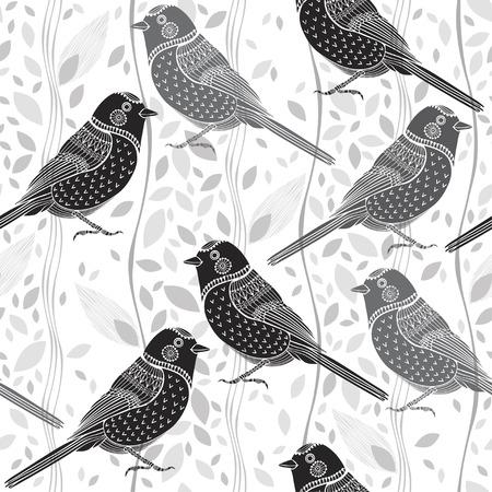 black white drawing: Floral seamless avec des oiseaux
