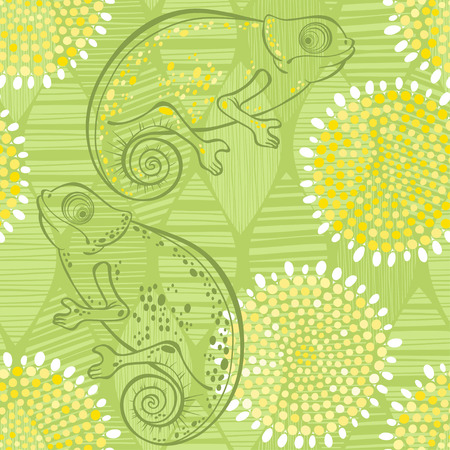 Seamless floral pattern with  chameleons.