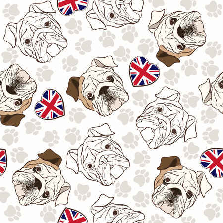 wrinkled face: seamless pattern with English Bulldog, traces and Heart flag.
