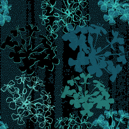 Seamless pattern of abstract flowers. Hand-drawn floral background.