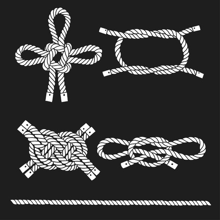 Set of marine rope, knots. Vector isolated  elements on a black background. Hand-drawn vector illustration. Illustration