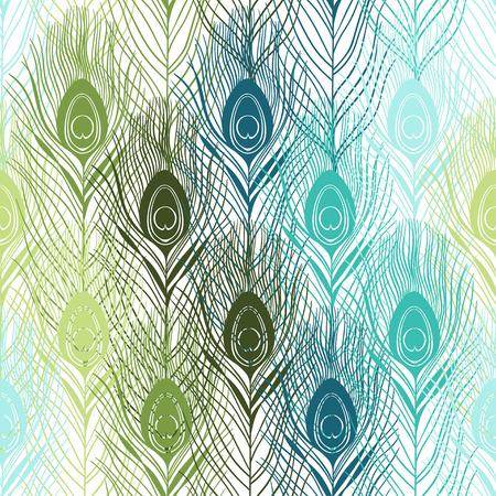 Bezszwowy wzór z pawimi piórkami. Ręcznie rysowane tło wektor.