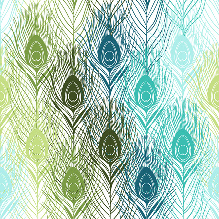 Seamless pattern with peacock feathers. Hand-drawn vector background.