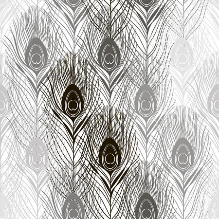 ornithological: Seamless pattern with peacock feathers. Hand-drawn monochrome vector background.