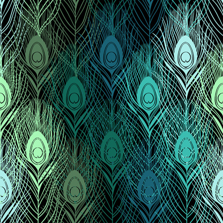 ornithological: Seamless pattern with peacock feathers. Hand-drawn vector background.
