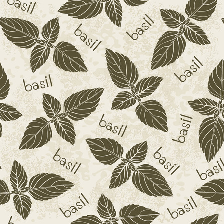 potherb: Seamless pattern with basil.