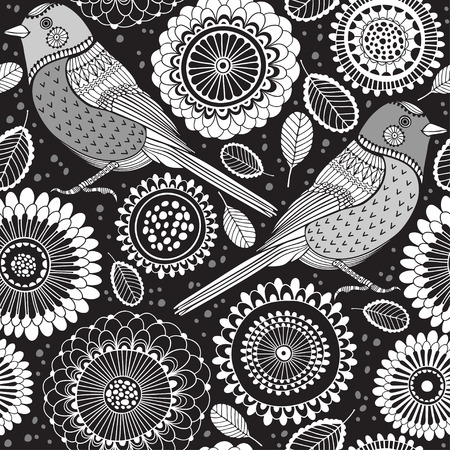 black pattern: Floral seamless pattern with birds.