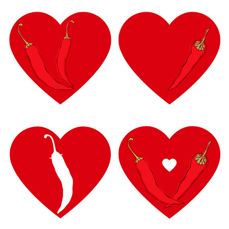 chilly: Chili pepper heart. Illustration