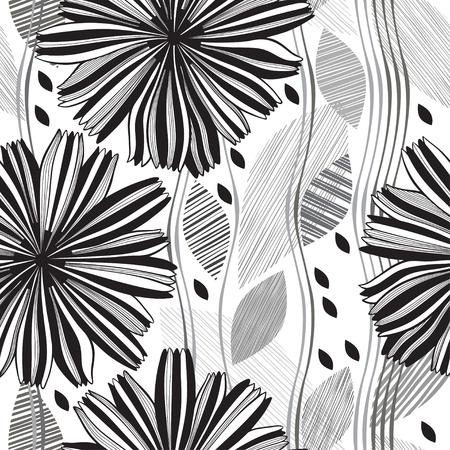 Monochrome nahtlose Muster der abstrakte Blumen.