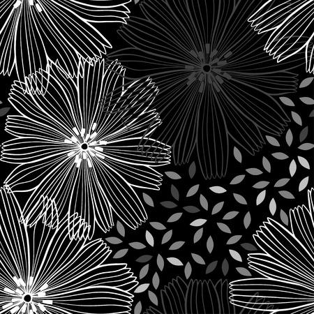 Monocromo sin patrón de flores abstractas. Foto de archivo - 36314186