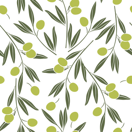 sprig: Seamless  pattern with olive branches.