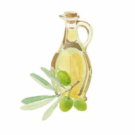 Olijftak en een fles olijfolie tekening van aquarel.