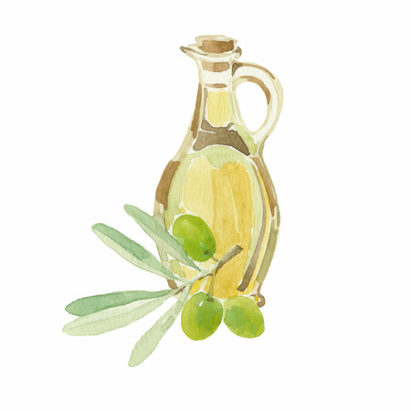 Olive branch and a bottle of olive oil drawing by watercolor.