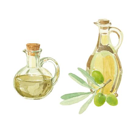 オリーブの枝と水彩で描くオリーブ オイルのボトル。