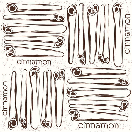 cinnamon sticks: Seamless pattern with  cinnamon sticks. Hand-drawn vector illustration.