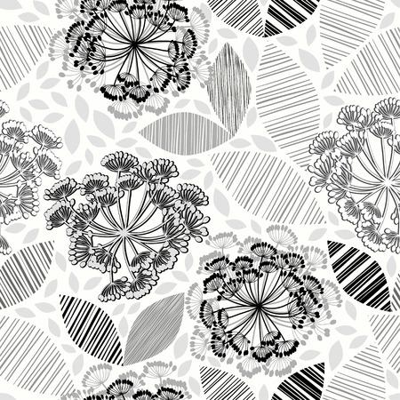 Monocromo sin patrón de flores abstractas. Dibujado a mano a fondo floral. Foto de archivo - 37075575