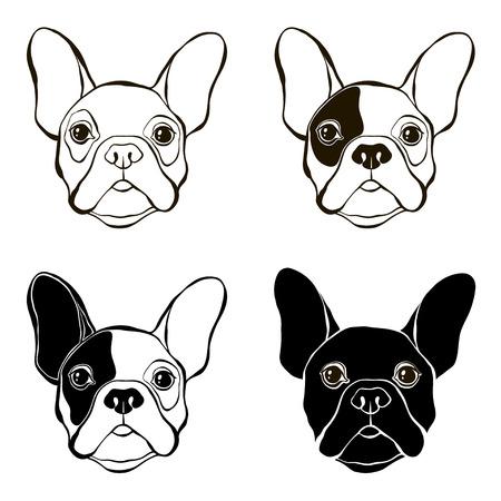 Franse Bulldog. Vector set van het gezicht bulldog's. Met de hand getekende vector illustratie. Schets, vier varianten.