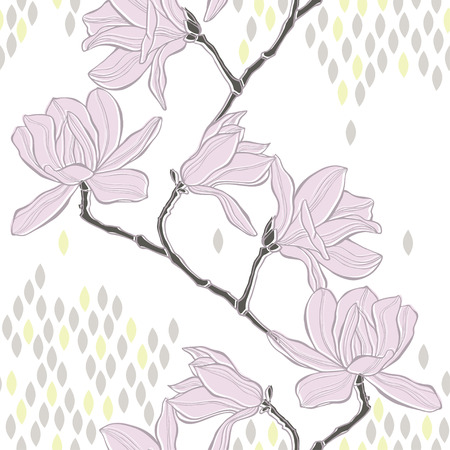 Seamless  background with magnolia. Vector