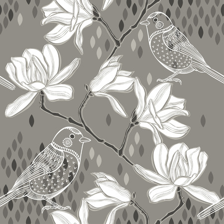 Seamless  background with magnolia and birds. Vector
