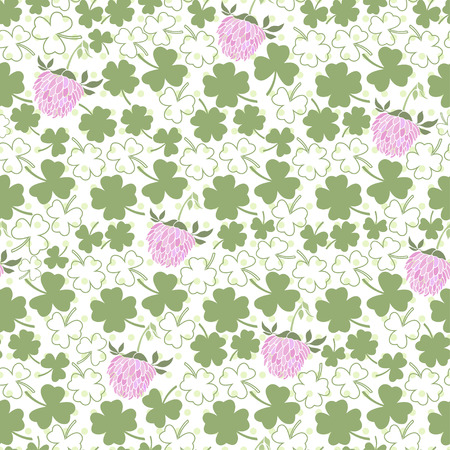 clover backdrop: Seamless pattern with clover on the  polka dots background