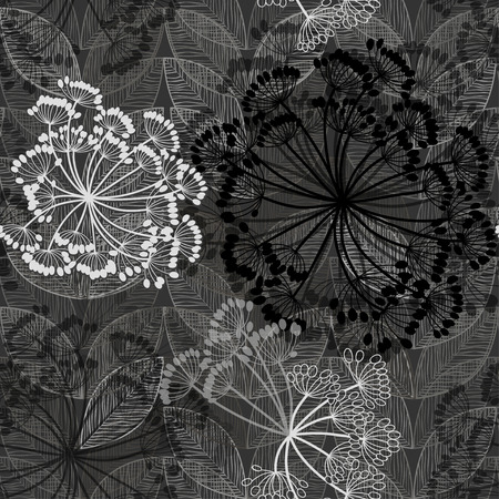 Monocromo sin patrón de flores abstractas. Dibujado a mano a fondo floral. Foto de archivo - 38475320
