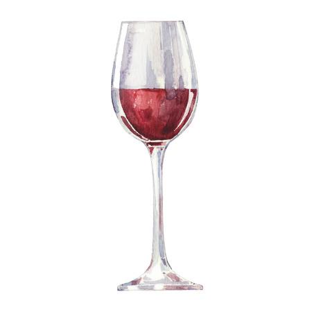 rojo: El vino tinto en un vaso aislado sobre fondo blanco. Vector, acuarela dibujado a mano ilustración. Vectores
