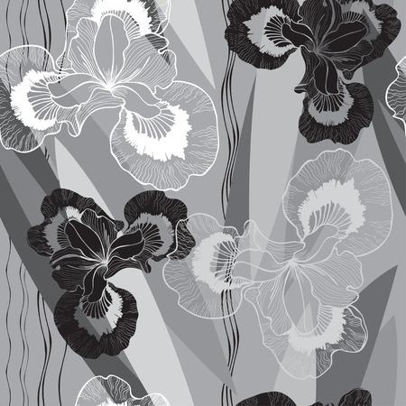 irises: Seamless monochrome pattern with irises.