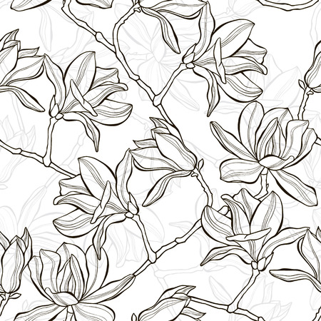 gray pattern: Monochrome  seamless  background with magnolia. Illustration