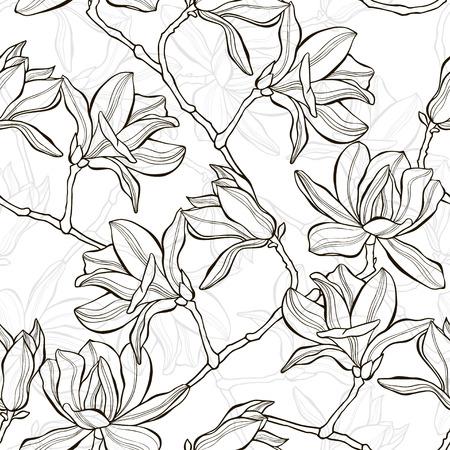 magnolia tree: Monochrome  seamless  background with magnolia. Illustration