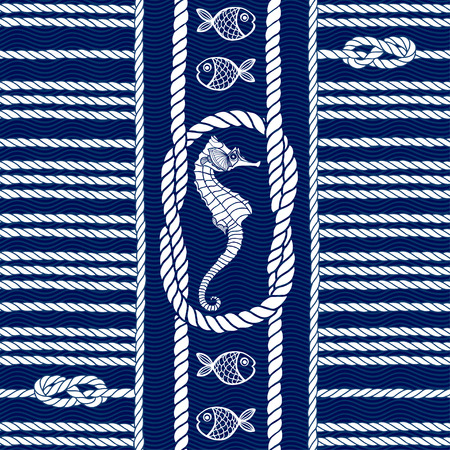 rope border: Seamless pattern with marine rope, knots , seahorses and fishes. Illustration