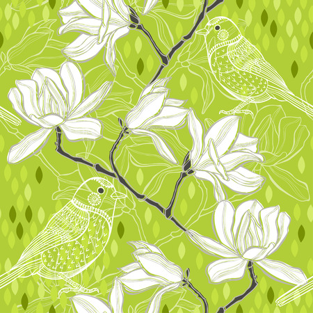 Seamless  background with magnolia and birds. Spring background. Vector