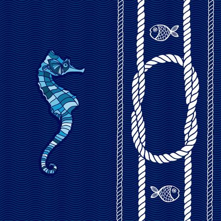 caballo de mar: Tarjeta n�utico con marco, nudos marinos, cuerdas, caballo de mar y peces. Vectores
