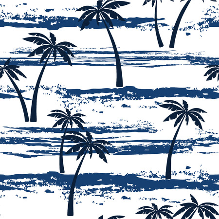 blue prints: Seamless pattern with sea and palm trees. Summer background.