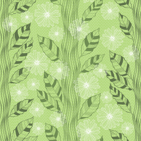flowering: Seamless pattern with abstract flowering trees. Hand-drawn floral  background.