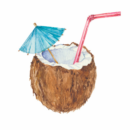 paper umbrella: Coconut cocktail isolated on a white background.Vector watercolor hand drawn illustration. Illustration
