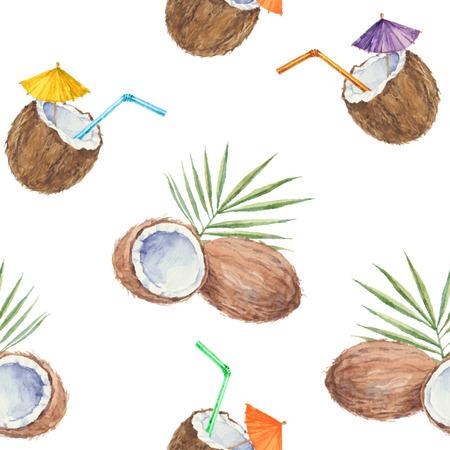 ココナッツとココナッツのカクテルとシームレスなパターンを水彩で描いた。ベクトルの背景。