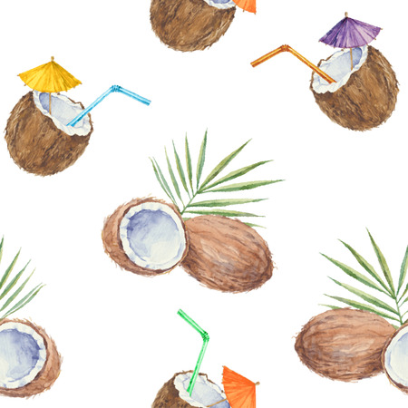 Seamless pattern with coconuts and coconut cocktail painted in watercolor. Vector background. Illustration
