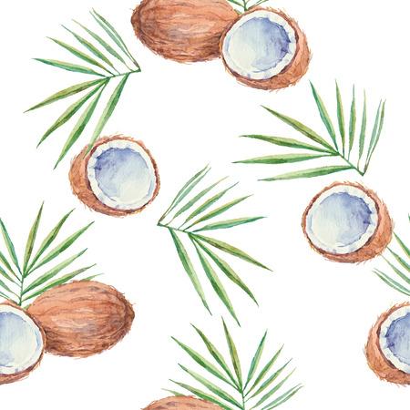 ココナッツとシームレスなパターンを水彩で描いた。ベクトルの背景。