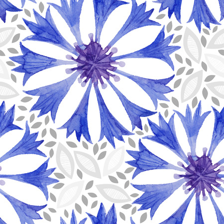 cornflower: Watercolor seamless pattern with cornflower. Vector background.