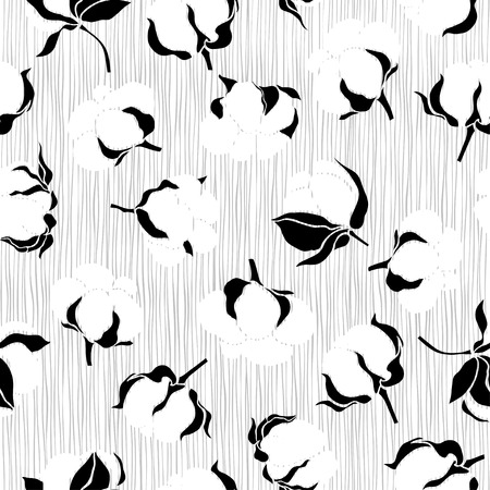 cotton: Seamless pattern with cotton. Vector monochrome background.