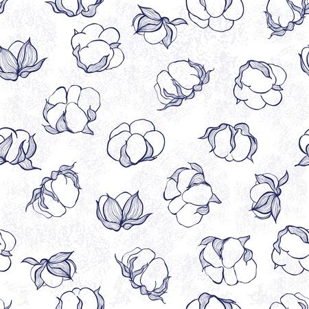 綿とのシームレスなパターン。モノクロのベクトルの背景。