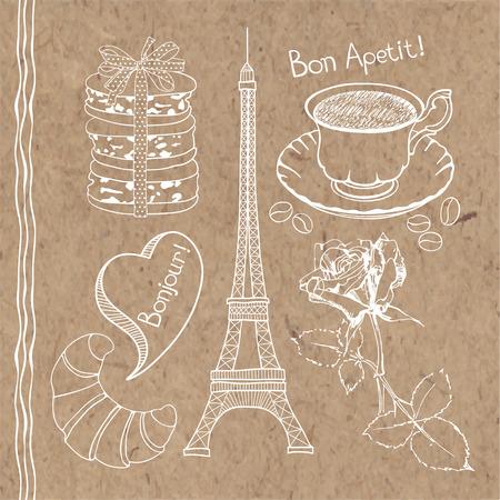Conjunto de dibujado a mano garabatos símbolos de Francia aislado en fondo de papel kraft.