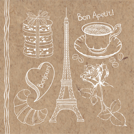 kraft: Set of hand drawn symbols of France doodles isolated on kraft paper background. Illustration
