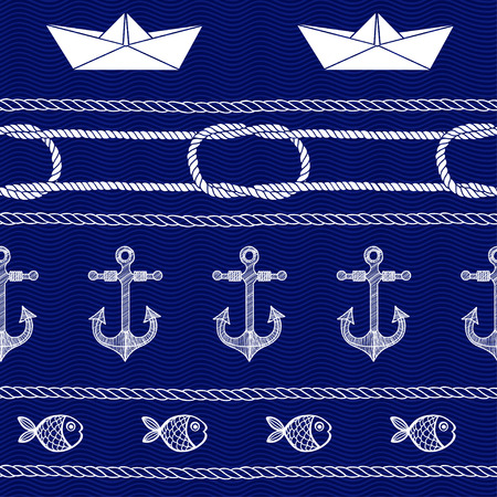 sea waves: Seamless nautical background. Handdrawn vector pattern. Illustration