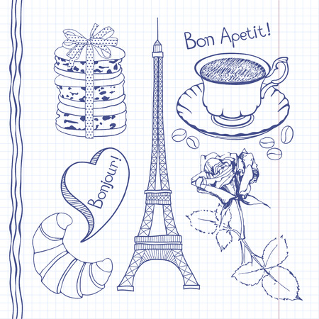 Set of hand drawn symbols of France doodles isolated.