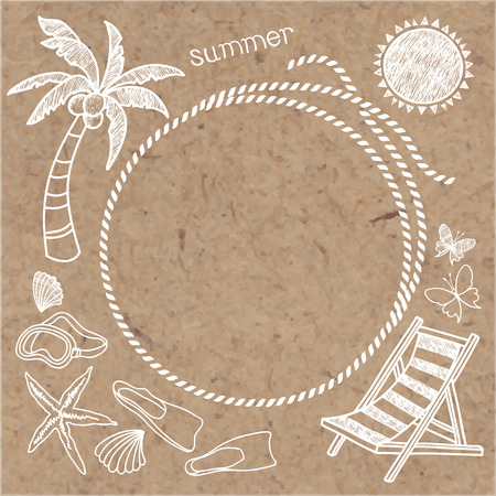 tree silhouettes: Summer background with frame. Vector hand drawn summer symbols on kraft background.